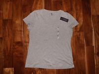 NWT Womens TOMMY HILFIGER V-Neck Gray Heather Short Sleeve Shirt Sz XL X-Large