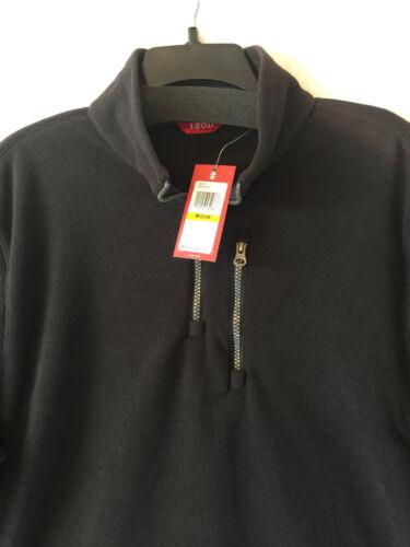 Izod Fleece Pullover Jacket Half-Zip Long Sleeve Men S Medium Black Gray Blue