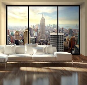 Details About Giant Size Wallpaper Mural For Living Room New York Window Effect