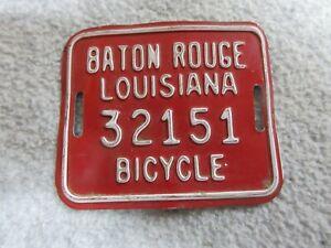 "Vintage BICYCLE LICENSE PLATE Baton Rouge LOUISIANA 3"" x 2.5"" Aluminum"
