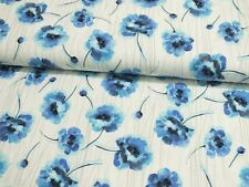 Jersey große Blumen Blüten wollweiß blau Damenstoff Meterware Baumwolljersey