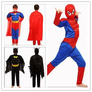 1a94a62d7ad81 Details about Halloween Spiderman Batman Superman kids Superhero Muscle  Fancy Dress Costume