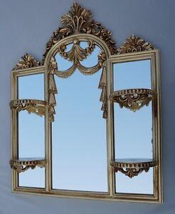 Wandspiegel-Barock-Jugendstil-mit-mini-Konsole-Spiegelablage-60X51-Spiegel-c510