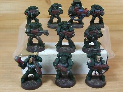 10 Plastica Warhammer Space Marine Dark Angels Tactical Squad Dipinto (4241)-
