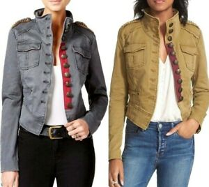 87cdc472fe9 Image is loading Free-People-Military-Jacket-Shrunken-Officer-Gold-Beaded-
