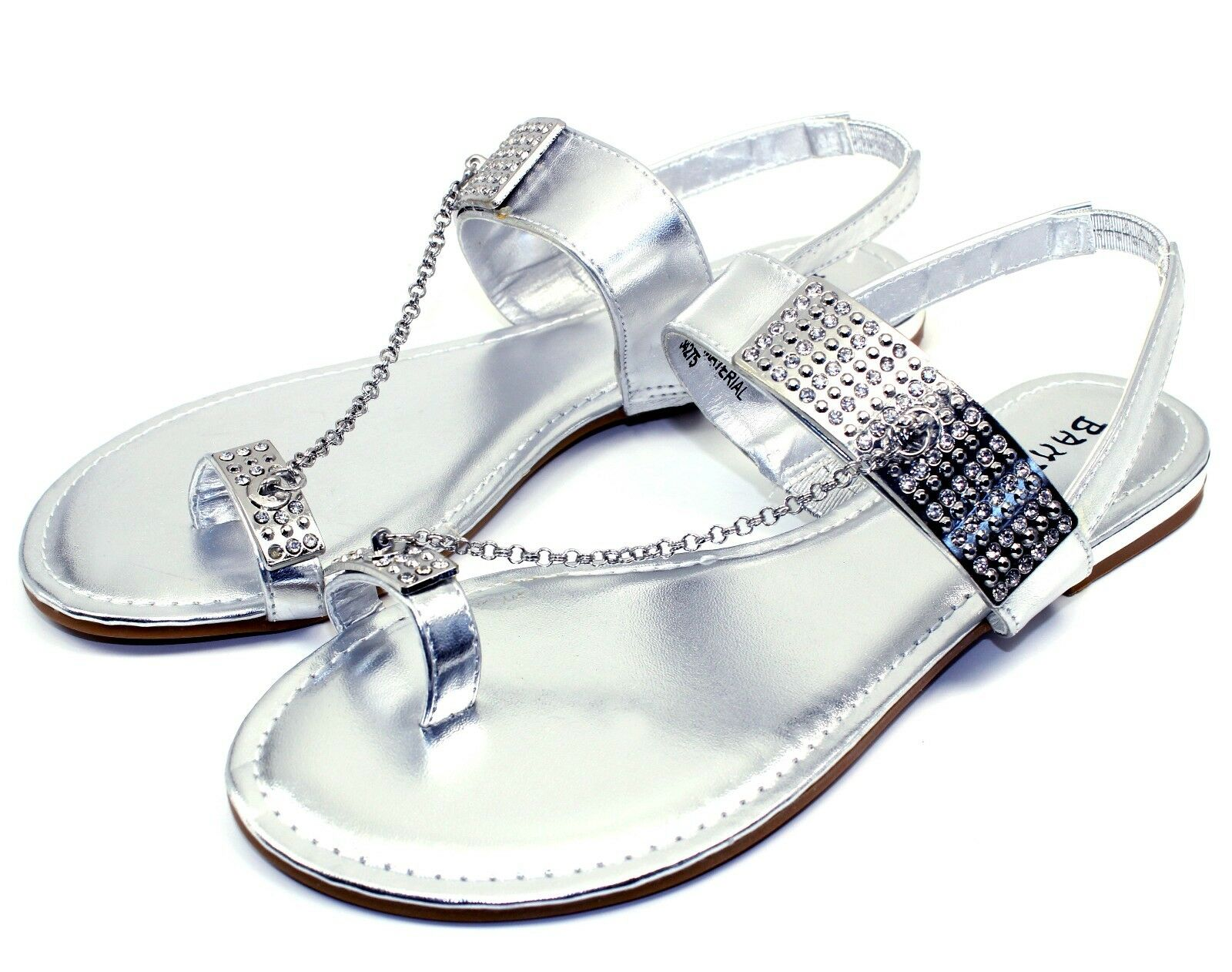 Ambra-77 Blink Chain Stone Flat Cute Sandals Silver Gladiator Party Women Shoes Silver Sandals 182e64
