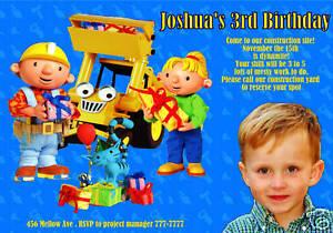 personalized bob the builder photo birthday invitation ebay