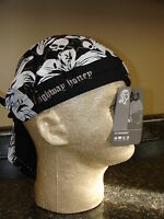 Highway Honey's Flowers Skulls Black White Biker Doo Rag Sweatband Headwrap Lady