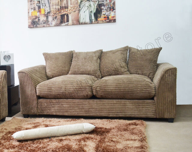 DYLAN 3 Seater Sofas in Caramel, Jumbo Cord Fabric Sofa Suites, Three Seater