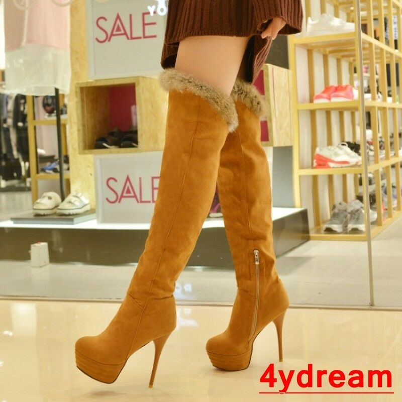 Ladies Knee High Thigh Boots Sexy Stilettos High Heel Platform Long Winter Shoes