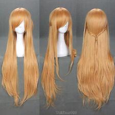 Light Brown Long Straight Sword Art Online Asuna Yuuki Anime Cosplay Wigs + Cap