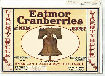 VINTAGE CRANBERRY CRATE LABEL EATMOR CRANBERRIES NEW JERSEY BELLE NOS