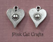 10 x LOVE HEART WITH FLOWER Tibetan Silver Double Sided Charms Pendants Beads