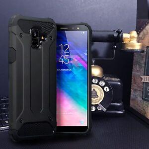 SAMSUNG-GALAXY-A6-PLUS-2018-Rugged-Industrial-Metal-Design-Bumper-Case-BLACK