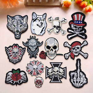 Skull-Bear-Animal-Embroidered-Sew-On-Iron-On-Patch-Badge-Clothes-Fabric-Applique