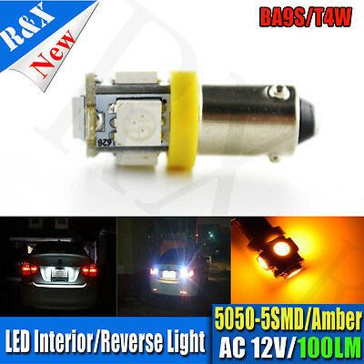 1pc Yellow BA9S W6W 5 5050 SMD LED License Plate Light Map Bulb Dome Lamp AC 12V