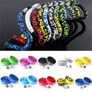 Sport-Road-Cycling-Handle-Bar-Bike-Bicycle-Cork-Handlebar-Tape-Wrap-2-Bar-Plugs