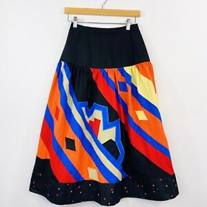 Vintage-80s-Womens-A-Line-Skirt-Colourful-Patchwork-Patches-High-Waist-Size-6