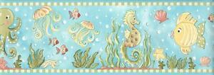 Wallpaper Border Sea Horse Octopus Starfish Jellyfish Green Coral Yellow Aqua