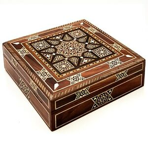 A beautiful complex wooden geometric inlaid lined storage box, probably Indian