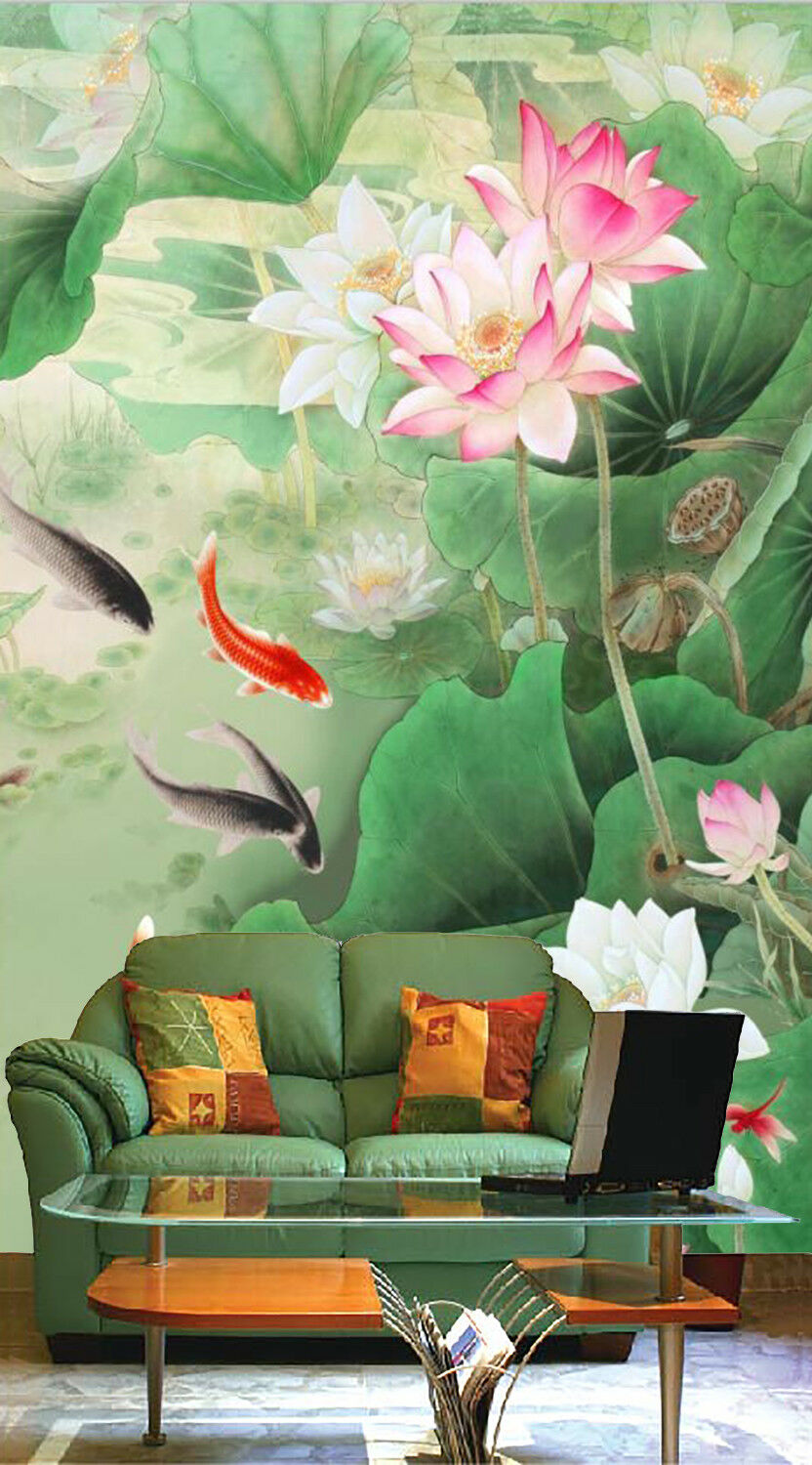 3D Lotu Fish 457 Wallpaper Murals Wall Print Wall Mural AJ WALLPAPER UK Summer