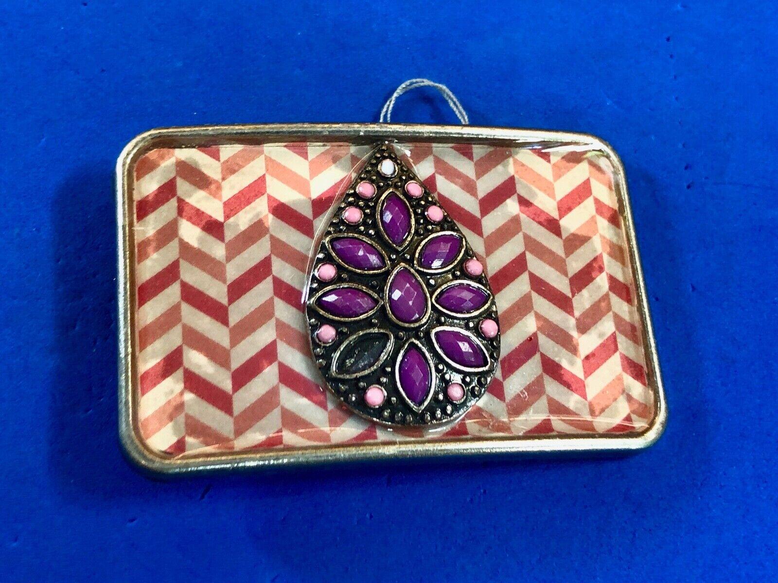 Chevron clustered real or faux Teardrop Jewels - purple pink belt buckle