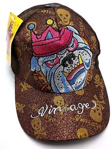 BULLDOG-WITH-CROWN-trucker-style-brown-adjustable-cap-hat-VINTAGE-BRAND