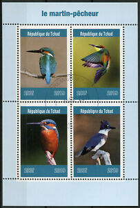 Chad-2019-CTO-coraciformi-Kingfisher-4v-M-S-MARTIN-pecheur-birds-stamps