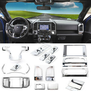 Chrome Full Set Car Interior Decor Accessories Center Console Trim For Ford F150