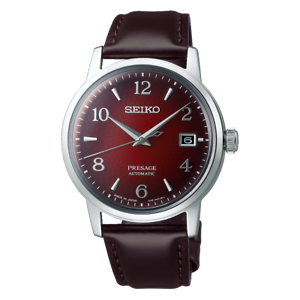 Seiko-Presage-Cocktail-Time-The-Negroni-Red-Men-039-s-Leather-Strap-Watch-SRPE41J1