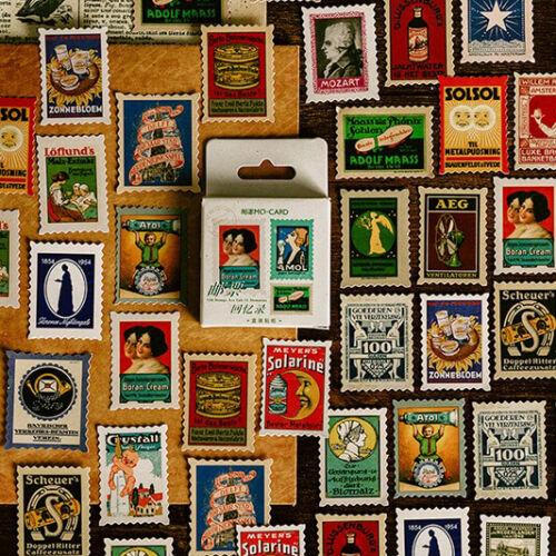 Set of 46 Vintage European Advertising Poster Stamps Mini Box Scrapbook Stickers