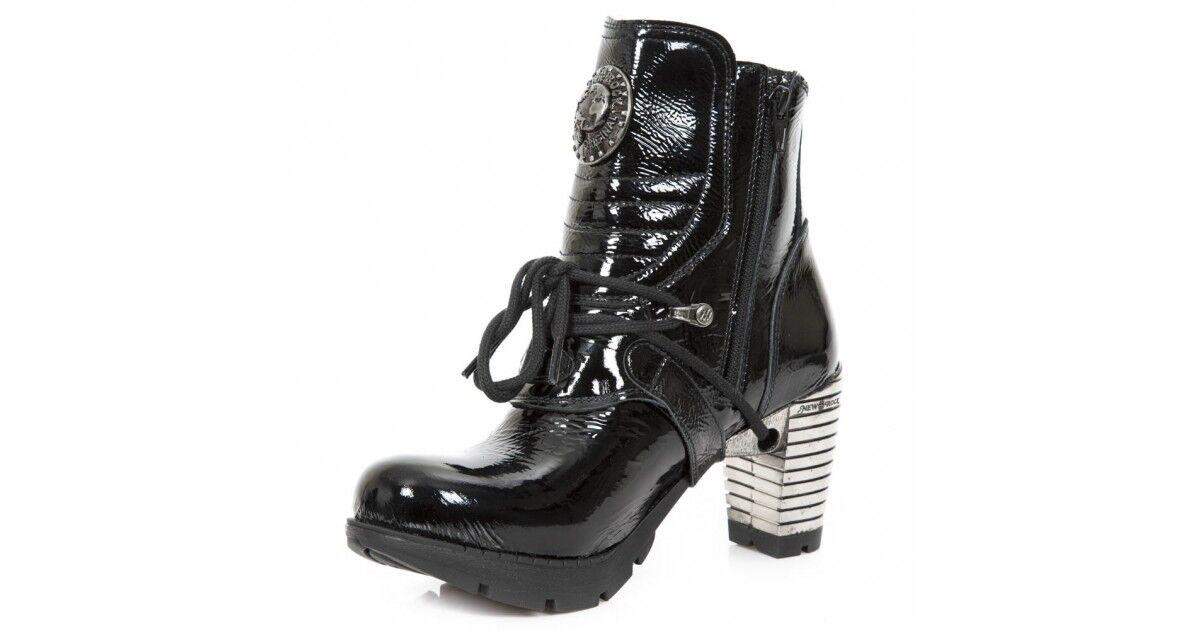 New Rock Schuhe Damen- Stiefelette Stiefel Absatz Stiefel Stiefel Absatz Gothic M.TR061 Lackleder 865d34
