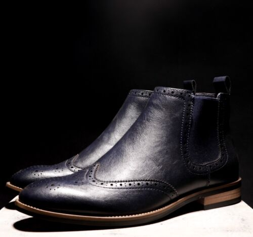 Mens London Brogues Designed by Shane Lynch Real Amen Boots Navy Leather Lined