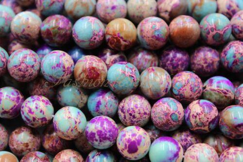 "Purple and Blue African Sea Sediment Jasper Beads,6mm 8mm 10mm Full Strand 15.5/"""