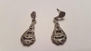 Vintage-Sterling-Silver-Marcasite-Earrings-Chandelier-Dangle-925