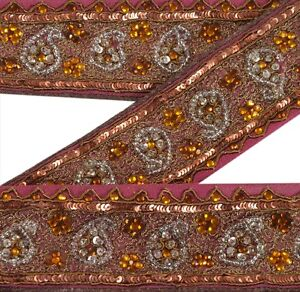 Embellishments & Finishes Sanskriti Vintage Sari Border Indian Craft Orange Trim Hand Beaded Ribbon Lace Linens & Textiles (pre-1930)