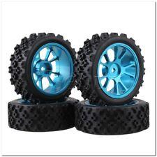 4 X RC 1 10 on Road Car Blue Aluminium 10 Spoke Wheel Rim Flower Rubber Tyre