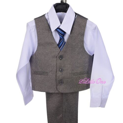 5pcs Set Vest Formal Tuxedo Suits Wedding Party Occasion Kids Size 2T-7 ST037A