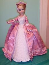 """Pink & White Satin 3 pc Marie Antoinette Gown for 16-17"""" Bonnie Blue Doll BBHC04"""