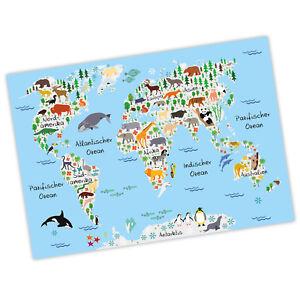 bezaubernde Kinder Weltkarte Grau Poster in A3/ A2/ A1 Kinderzimmer ...
