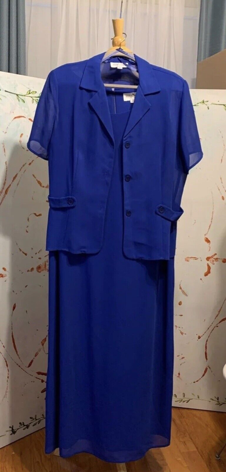 Size 16 Long Dress 2 pc Sheer Top Royal Blue Mother of the bride