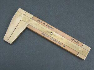 Vintage 100mm boxwood & brass rope caliper rule ruler No 1470 Rabone Chesterman