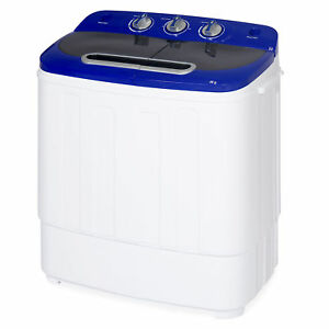 BCP Portable Mini Washing Machine w/ Hose, 13lbs Capacity - White/Blue