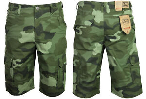 New-Mens-KAM-Cargo-Camo-Shorts-Dark-Green-Camouflage-Regular-Big-Plus-Size-Waist