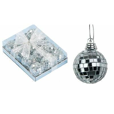 12 Xmas Tree Mirror Ball Baubles Party Decorations 35mm Mini Disco Silver Craft