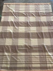 "100% wool cream blanket Light brown stripes on ends 53"" 73"" vintage"