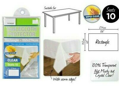 2 x Transparent Plastic Tablecloth Cover Protector PVC Clear 152x274cm Brand New