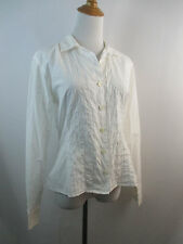 A28 WHITE GUESS JEANS WOMENS PERFORATION DETAILING LONG SLEEVE BUTTON SHIRT SZ M