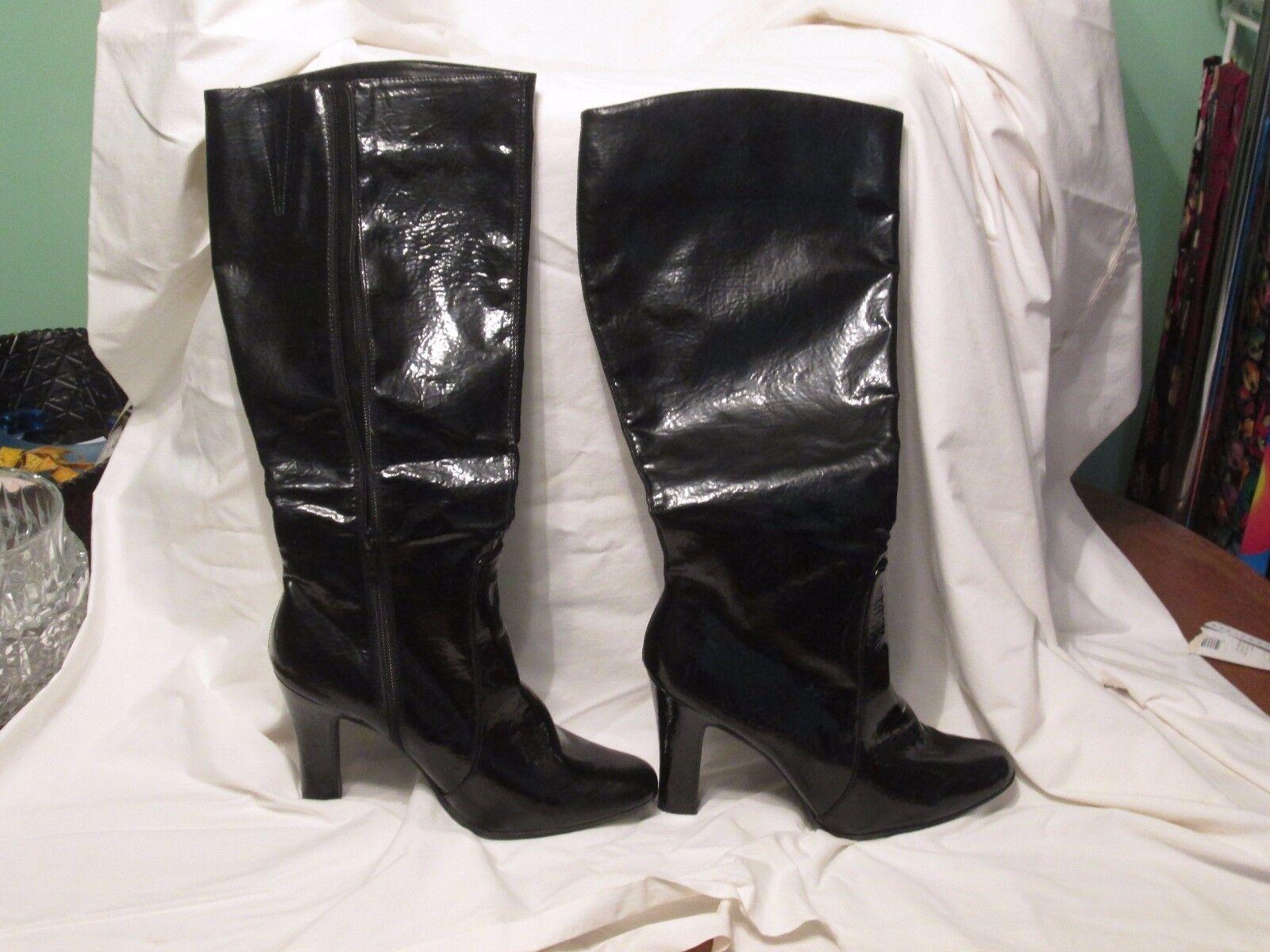 Black Patent High Heel Knee Height Dress Boots Side Zip Sz 8 1/2