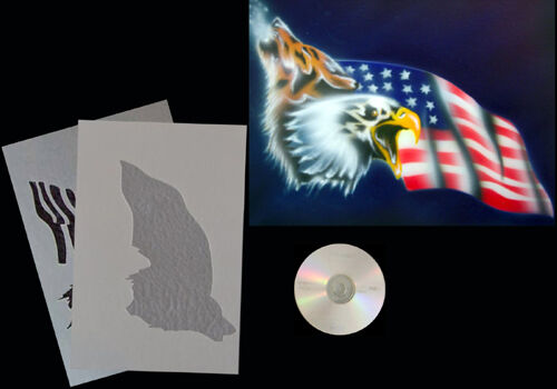Stencil #  0164 Wolf//Adler//USFlagge /&CD Airbrush Schablone Step by Step